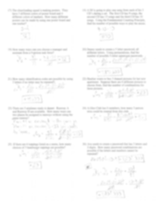 permutations and combinations worksheet with answers ...