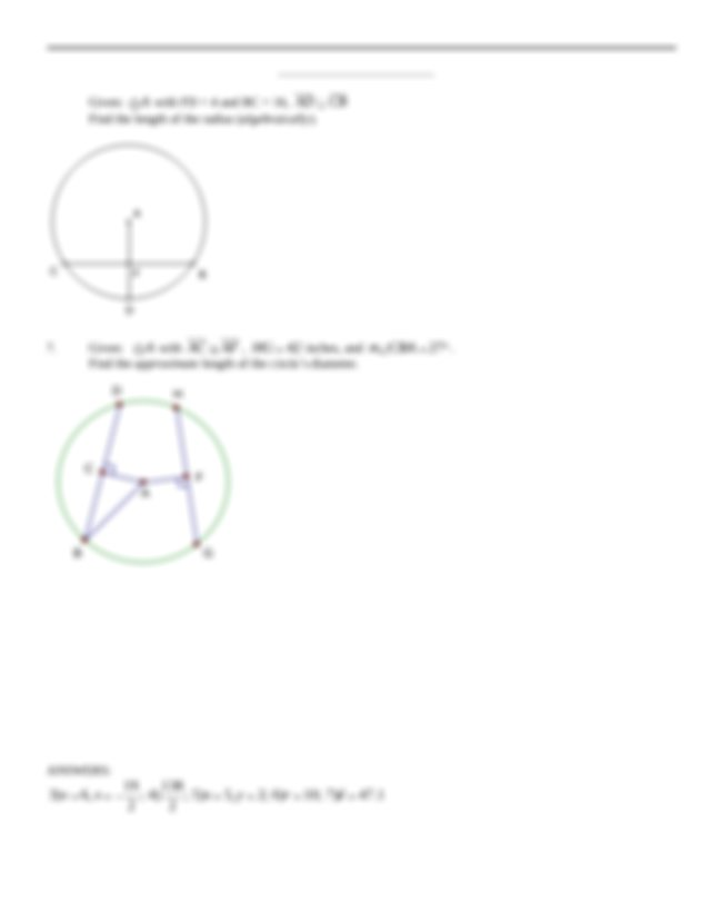 10.3_Arcs_of_a_Circle_Review with Answers - 10.3 Arcs of a ...