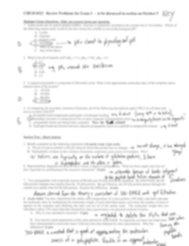 Answer Key Review Problems for Exam 1 - CHEM 0322 Review ...