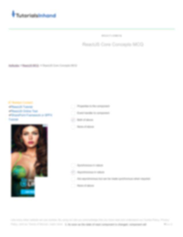 Reactjs Mcq Set 2 Pdf Home Reactjs Mcq Set 2 Tutorials Articles Online Exams Aptitude Java C Language Software Engineering Web Terminology Reactjs Mcq Course Hero