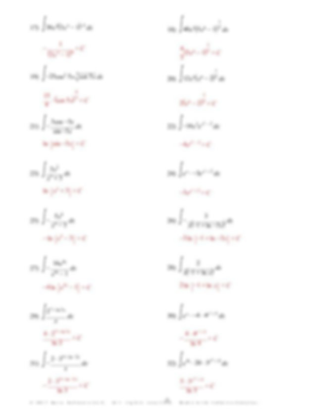 Kuta - 6-2 Integration by Substitution - ANSWERS.pdf - AP ...