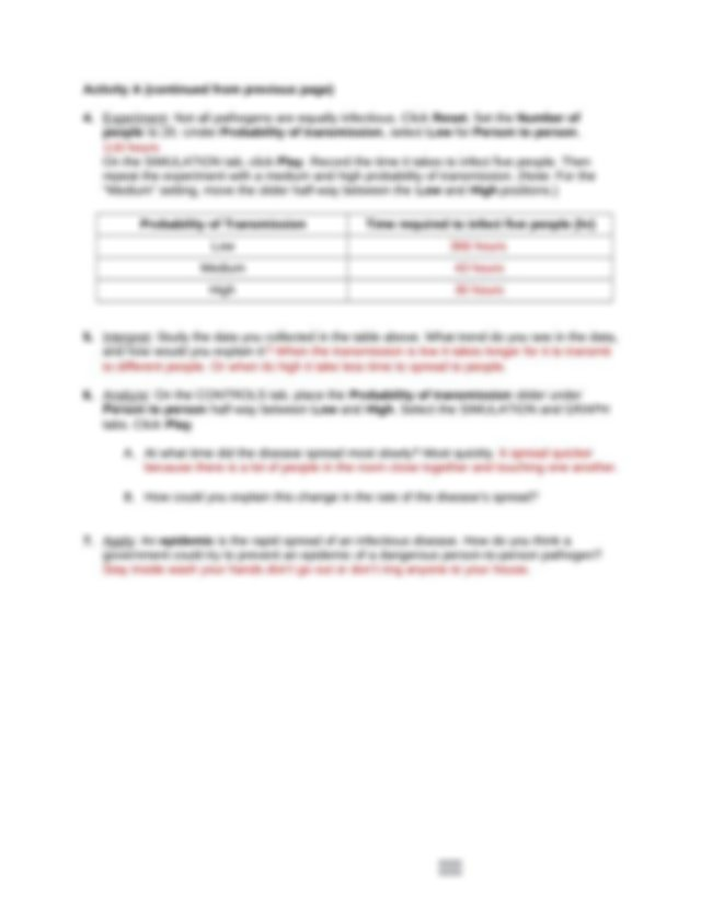 Disease Spread Gizmo.docx - Name Date Student Exploration ...