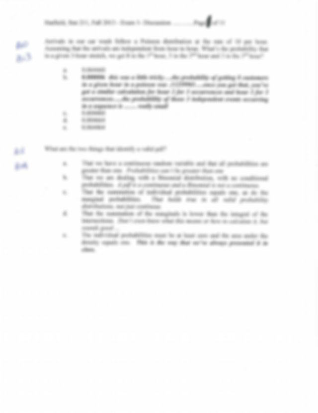 File706 Hatfield Sample Exam1 Fall13exam1  Discussion