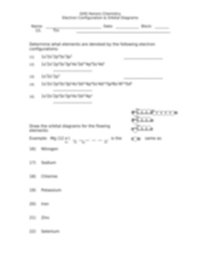 Ghs Honors Chem Electron Configuration And Orbital Diagrams Doc