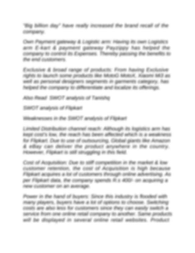 Swot Analysis Of Flipkart Docx