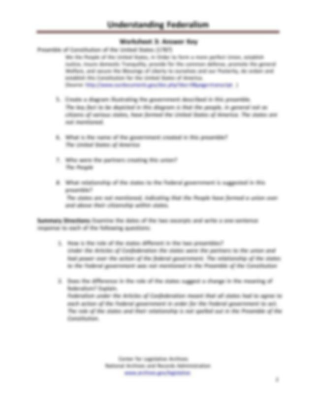answerkeys.pdf - Understanding Federalism Worksheet 1 ...