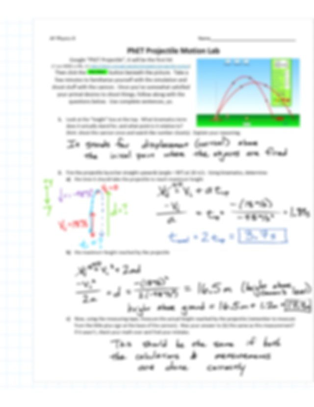 AP Physics PhET Projectile Lab ANSWER KEY - Vectors and 2D ...