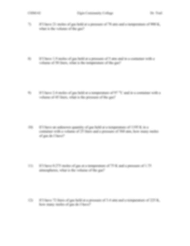 CHM142 Ideal Gas Law Worksheet - CHM142 Elgin Community ...