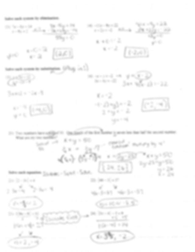Final Exam Review Answer Key - ID 1\l Algebra 1 PS ~ pow 7 ...