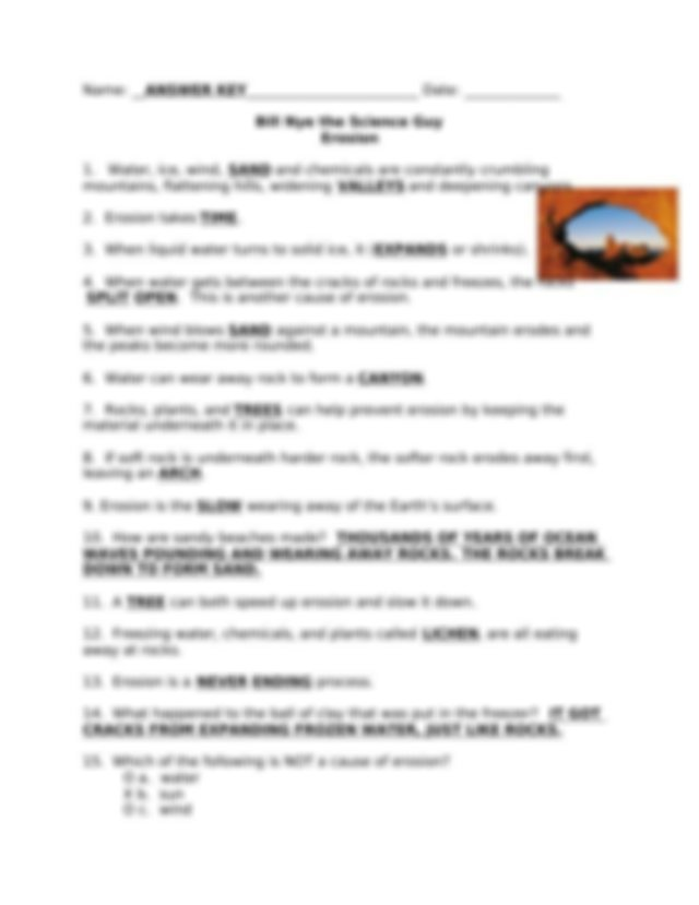 Bill Nye Worksheet - Erosion.doc - Name Date Bill Nye the ...