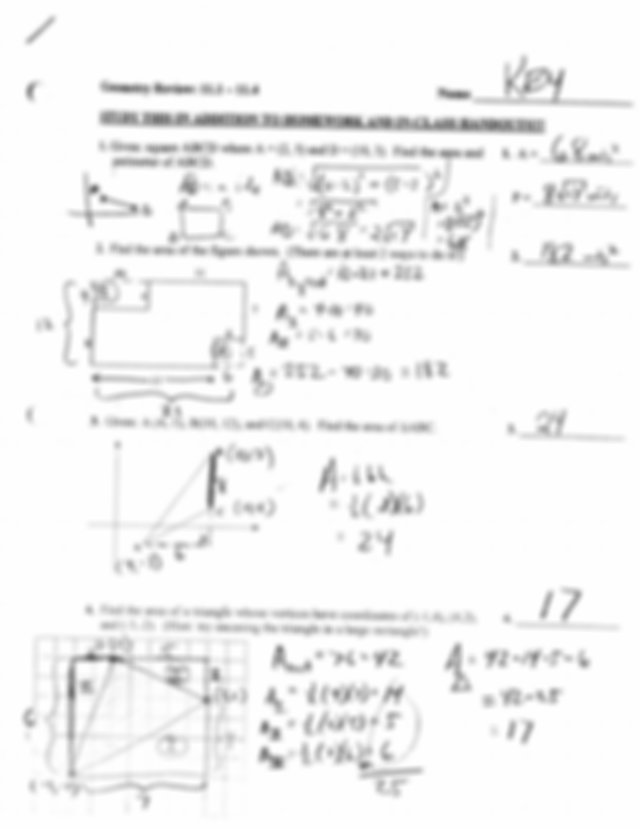 11.1 to 11.4 Review Answer Key - Geometry Review 11.1 11.4 ...