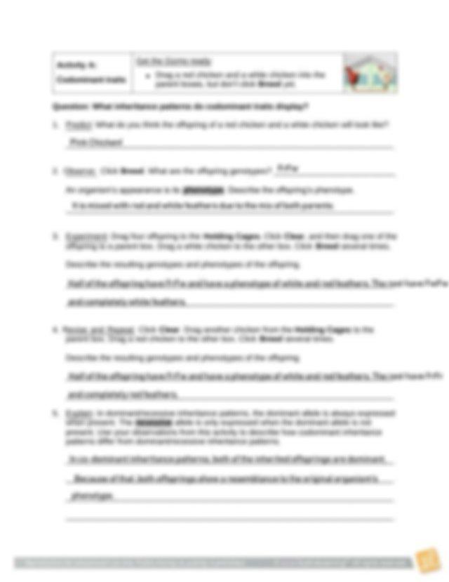 ChickenGeneticsSE.pdf - Name Date Student Exploration ...