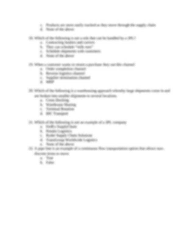 Opm 311 Exam 3 Practice Questions