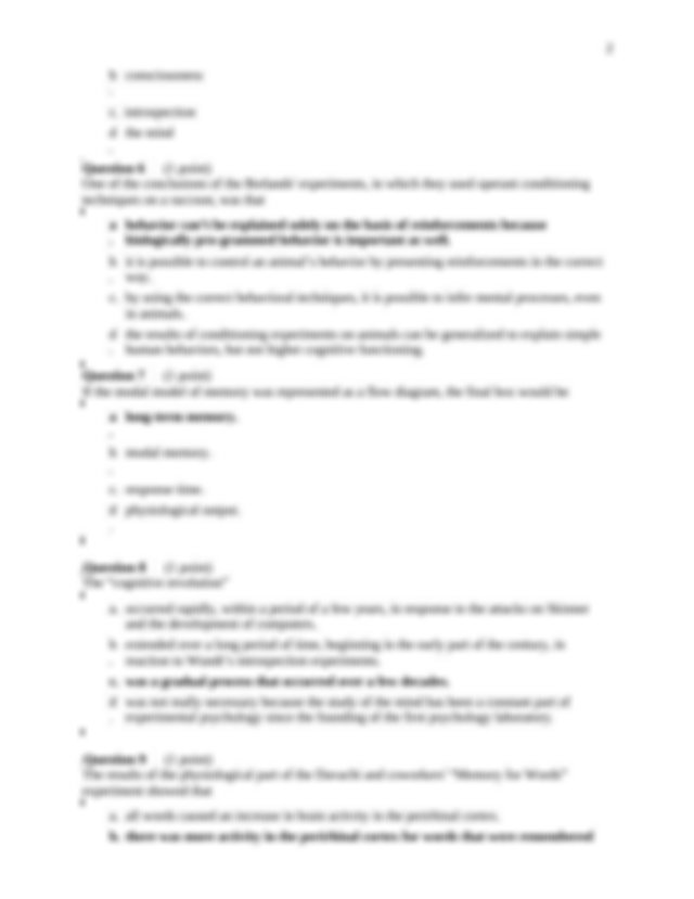 Quiz1 answer key - 1 Cognitive Psychology(Psy 164-01 Quiz ...