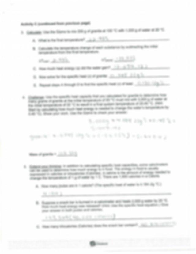 Scan - Student Exploration Calorimetry Lab calorie ...
