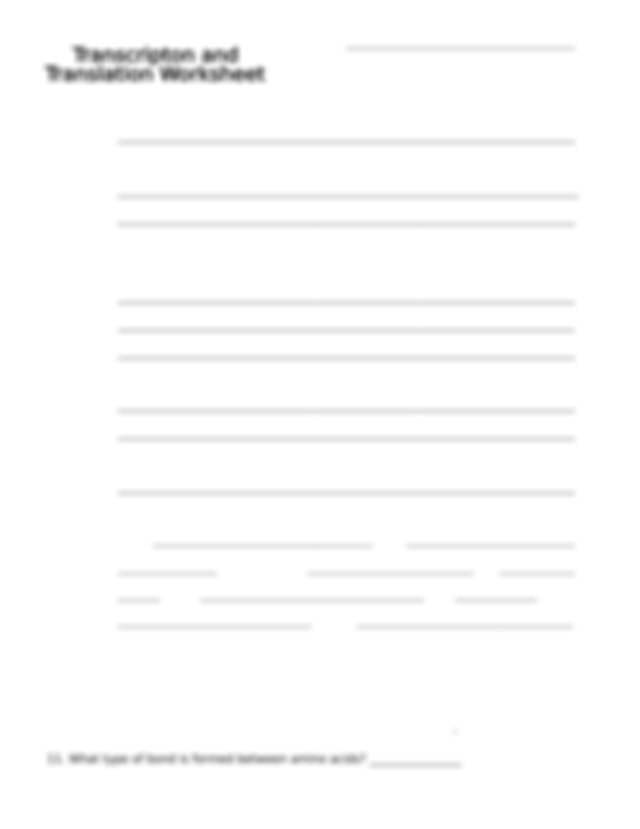 Transcription and Translation Worksheet - Name For each of ...
