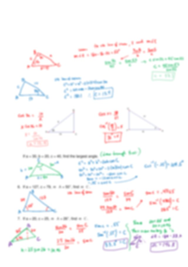 Triangle Angles Review_Answer_Key - PRECALC I SECTION 5.1 ...