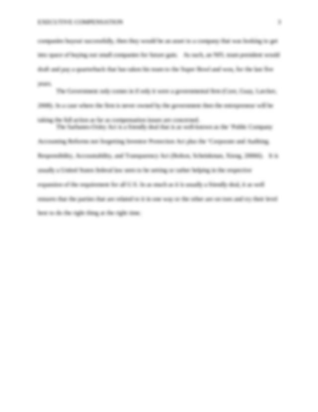 Essay on executive pay