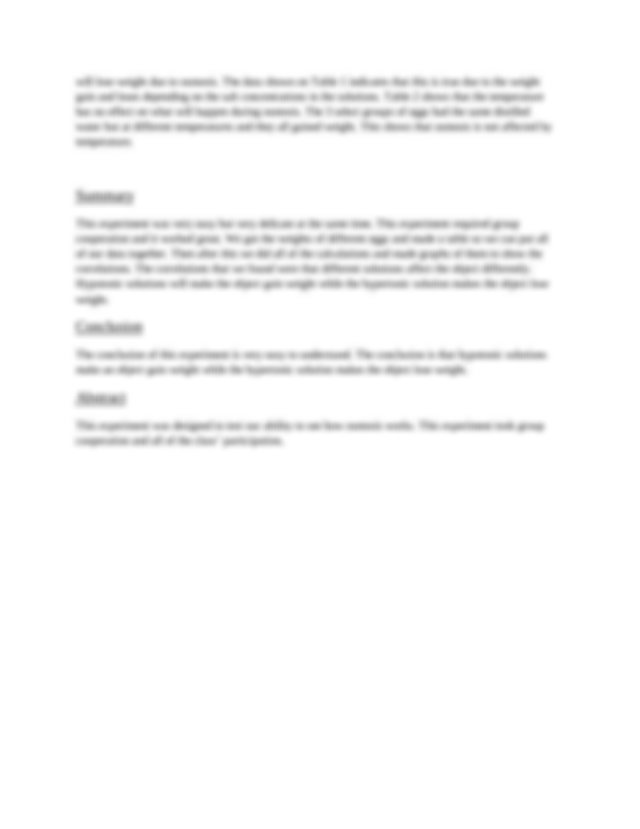 Lab report - Materials and Methods 1 De-shelled eggs 2 ...