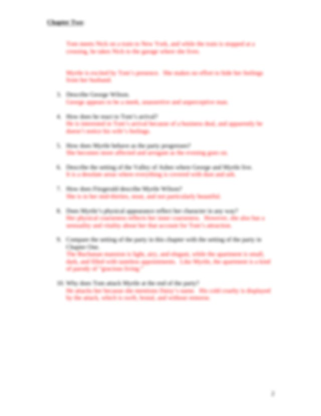 Gatsby--Study Questions w-answers - The Great Gatsby