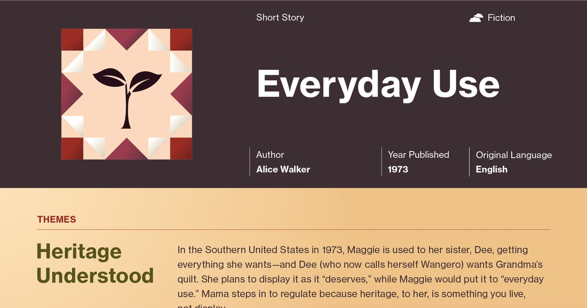 thesis statement of everyday use by alice walker In the short story everyday use by alice walker, two sisters portray their  view  in alice walker's everyday use alice walker is making a statement about the.