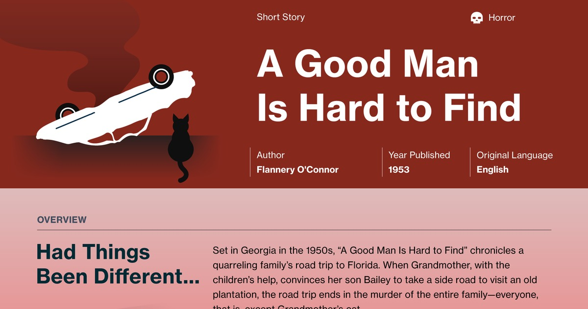 a study of flannery oconnors a good man is hard to find This study guide and infographic for flannery o'connor's a good man is hard to find offer summary and analysis on themes, symbols, and other literary devices found in.
