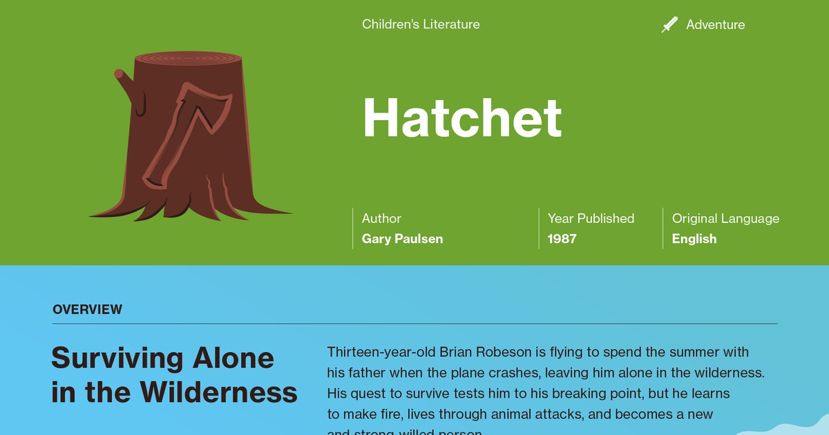 literary analysis of hatchet A literary analysis of hatchet by gary paulsen hatchet is the story of a young  boy named brian who is stranded in the middle of the canadian woods after the.