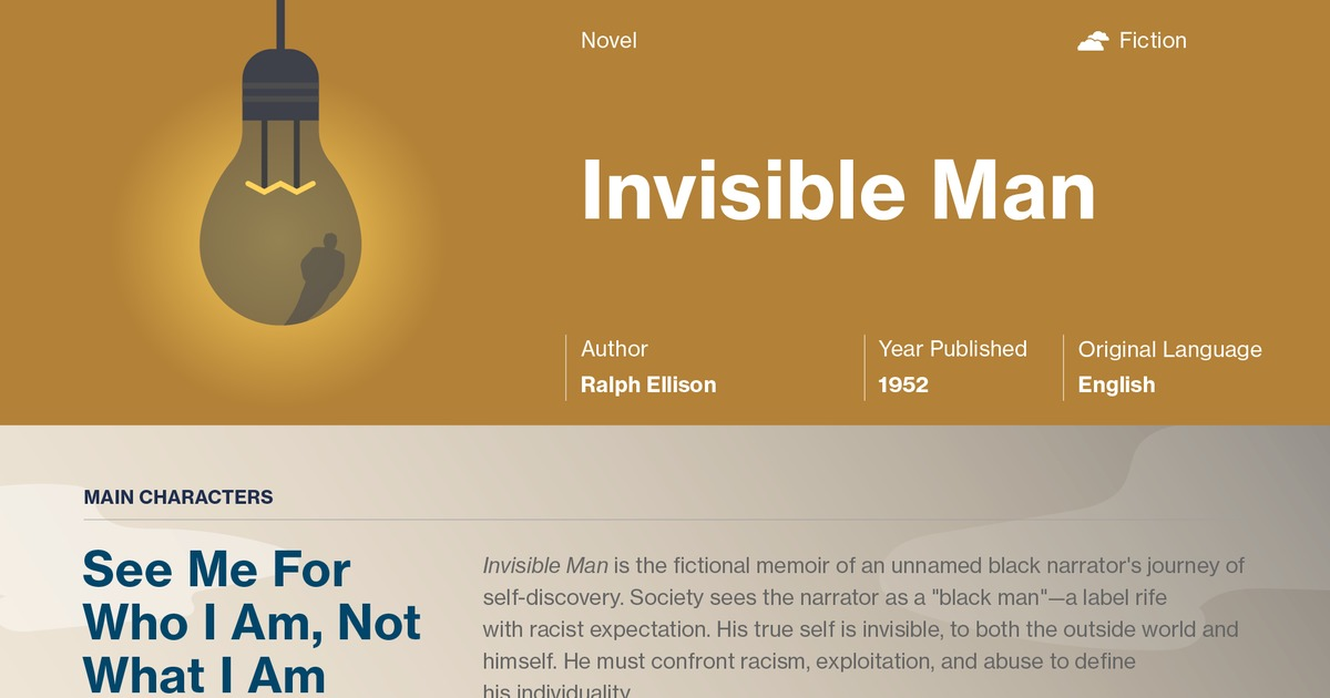 analysis of invisible man Free essay: never fitting in, the invisible man has learned to conquer his  surroundings and finally lead a life for himself he thought that by moving to the.