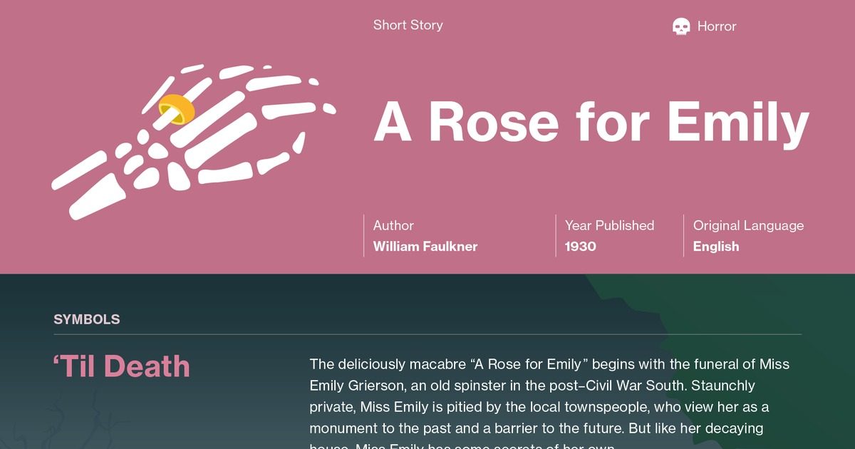 freytag s pyramid in a rose for emily ―a rose for emily‖ was the first short story that faulkner published in a major  magazine • this story's chilling portrait of aberrant psychology.