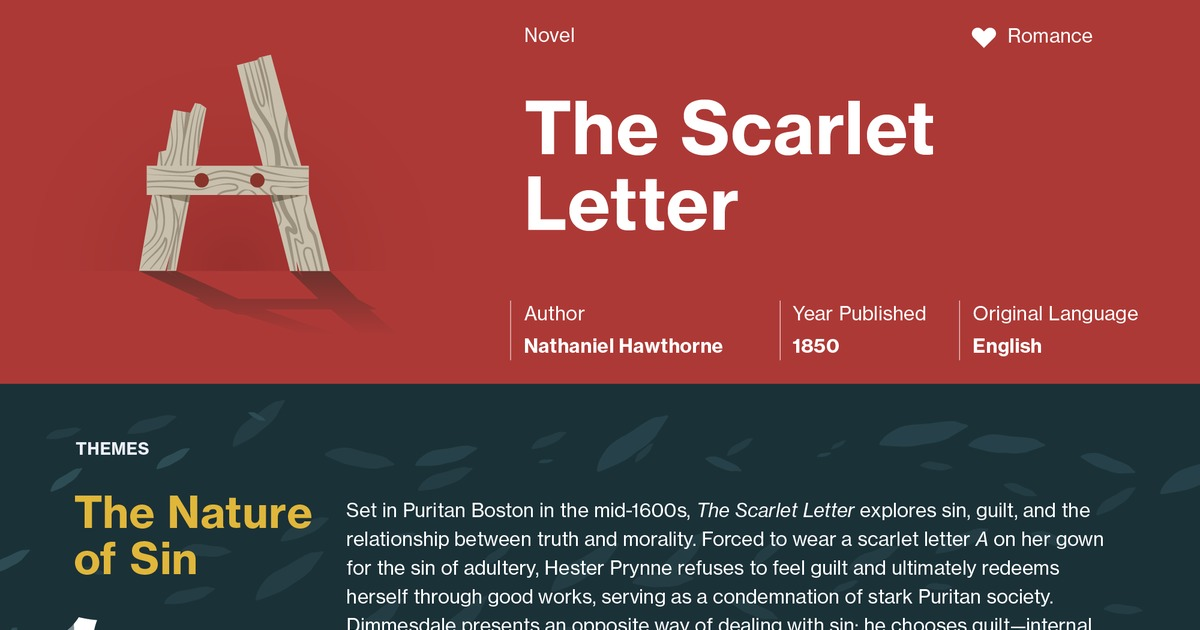 a summary of the plot and background of the scarlet letter by nathaniel hawthorne But the scarlet letter uplifts the theme from the material to the spiritual level are well adapted to become the furniture and background of a romantic narrative.
