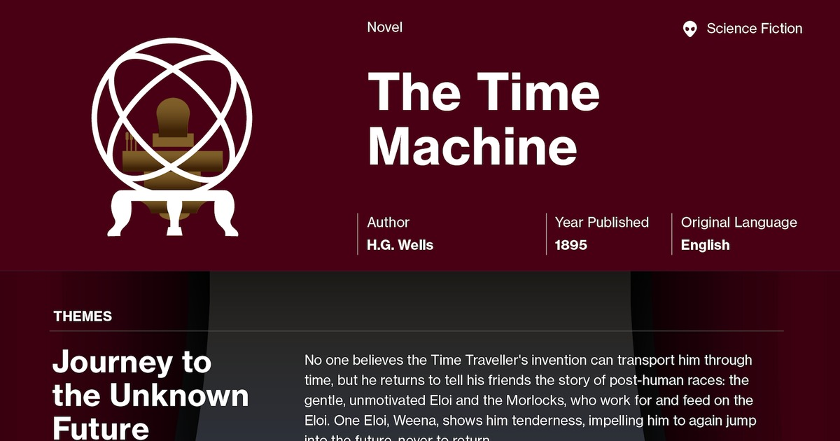 an analysis of the time machine by h g wells The time machine by hg wells home / the time machine analysis the time machine gets its title from the time machine invented by the time traveller.