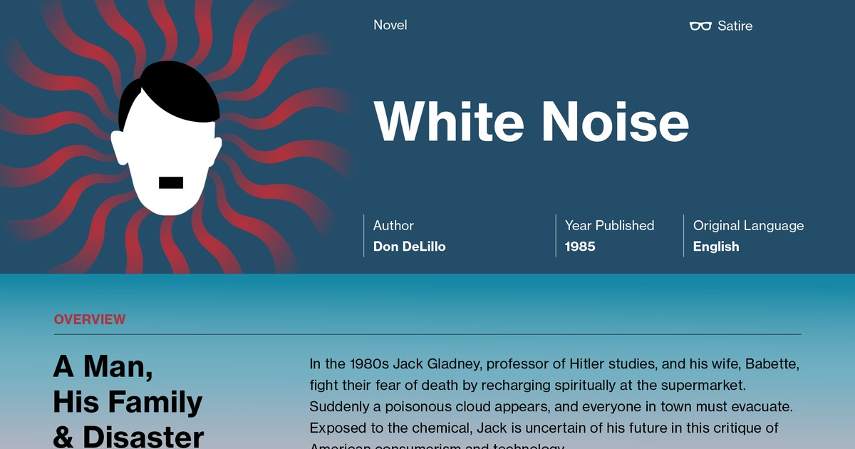 """essay on white noise Death and mass identity in """"white noise"""" the novel white noise by don delillo is a social commentary about american culture delillo develops his characters in such a way as to use them as a mirror to some of the cultural phenomenon that takes place in society."""