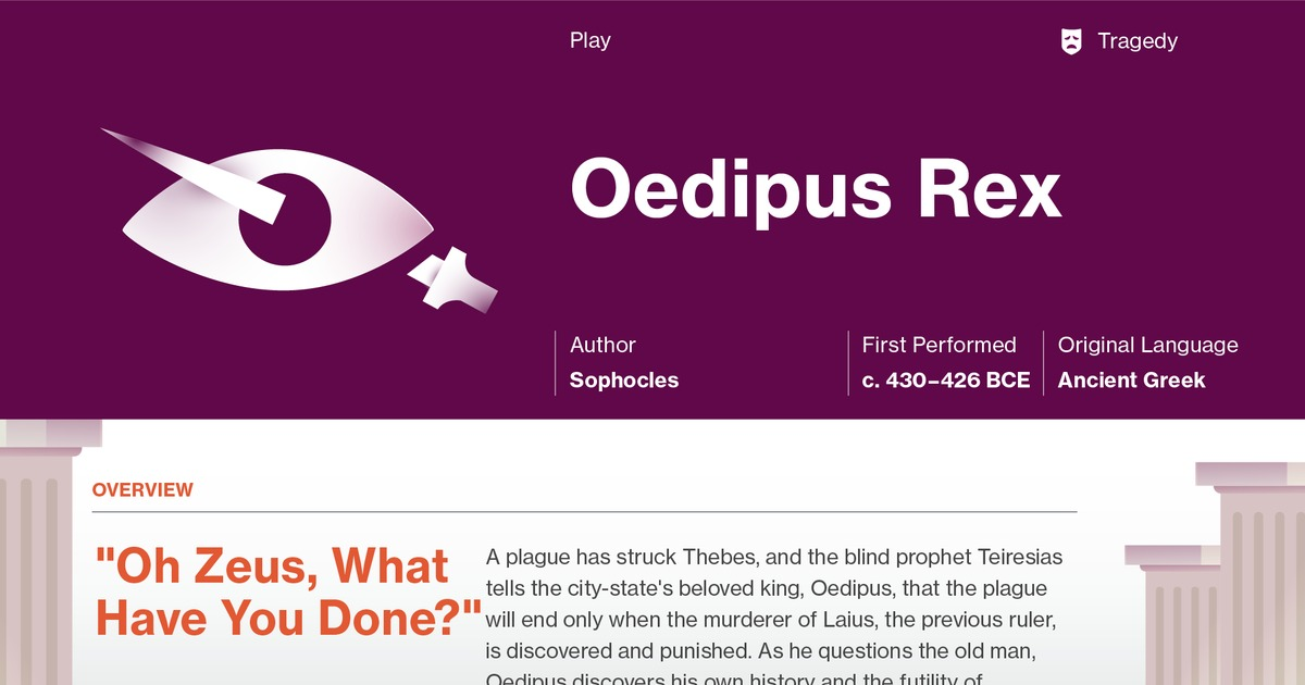 a literary analysis of the play oedipus rex by sophocles A detailed study of oedipus the king by sophocles, summary, analysis, themes, quotesoedipus is a tragedy of blood sophacles' oedipus the king is a perfect example of classical greek tragedy main feature of oedipus the king play is the portrayal of tragedy of blood in it oedipus the king also highlights the importance of identity quotes of identity are available in the play.