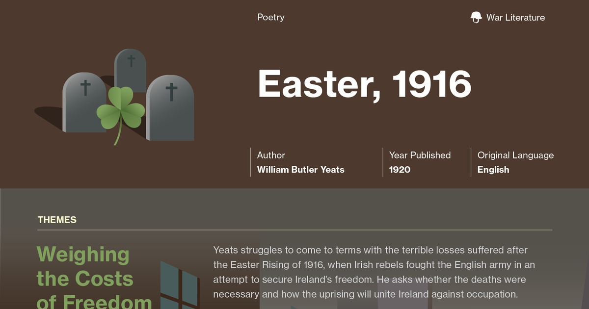 easter 1916 analysis Symbolism in wb yeats's easter, 1916 learn about the different symbols such as stone in easter, 1916 and how they contribute to the plot of the book.