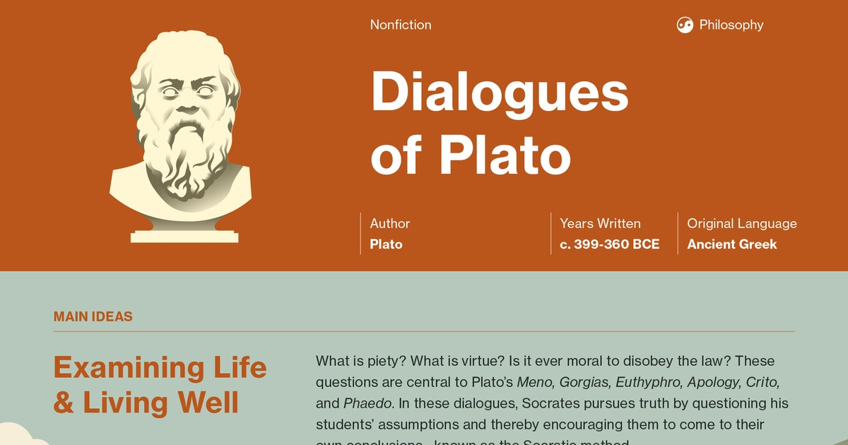 an analysis of platos five dialogues The socratic method of investigation, the elenchus, is explained by example in plato's five dialogues in euthyphro, apology, and crito, plato's character of socrates employs the elenchus as a way to challenge interlocutors if an athenian claims to be knowledgeable about a subject, socrates .