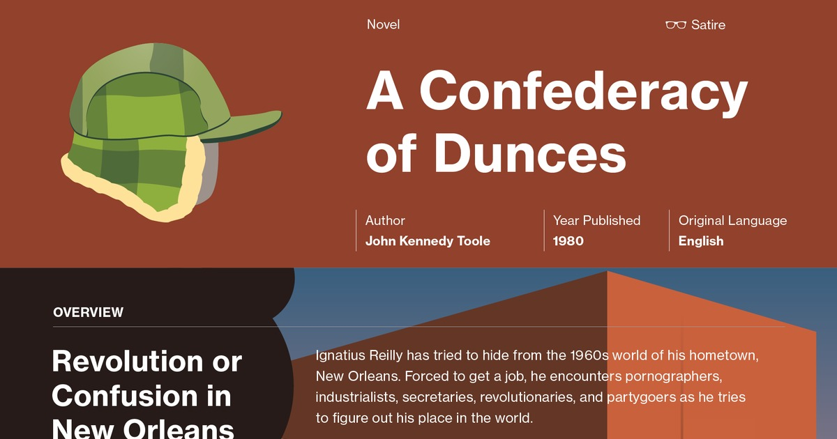 a research on the individual in a confederacy of dunces A confederacy of dunces is a picaresque novel by american novelist john kennedy toole which appeared in 1980, eleven years after toole's suicidepublished through the efforts of writer walker percy (who also contributed a foreword) and toole's mother, the book became first a cult classic, then a mainstream success it earned toole a posthumous pulitzer prize for fiction in 1981, and is now .