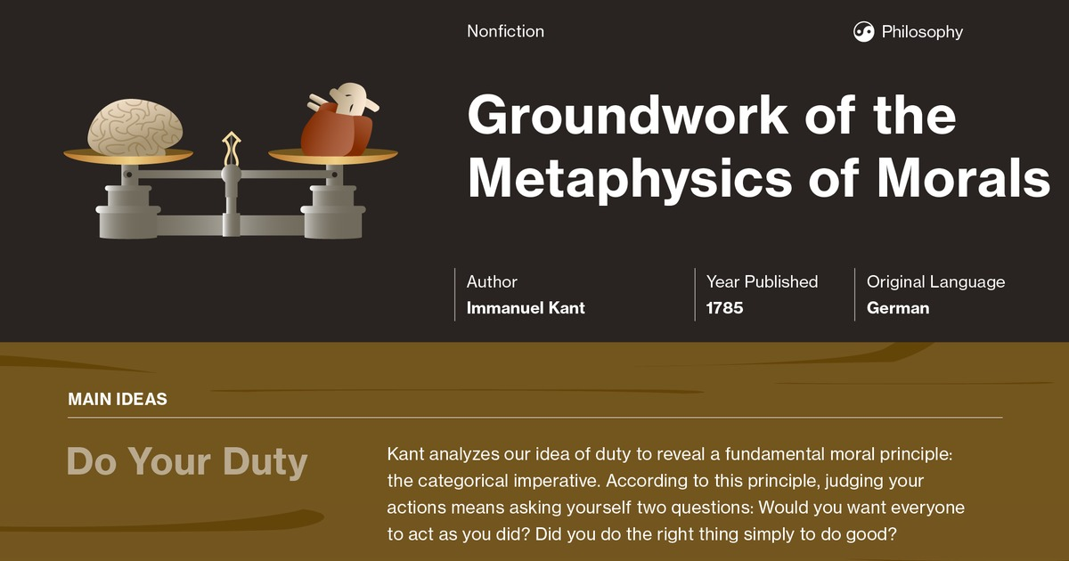 Groundwork Of The Metaphysics Of Morals Section 1 Summary Course Hero