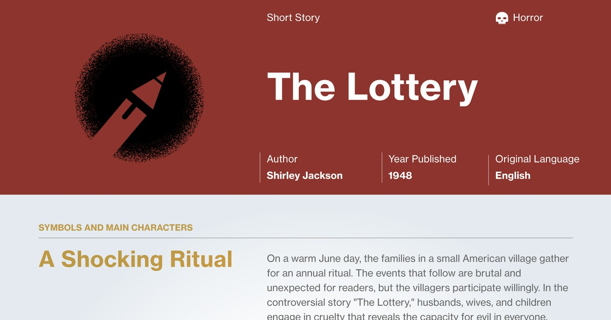 the lottery authors purpose