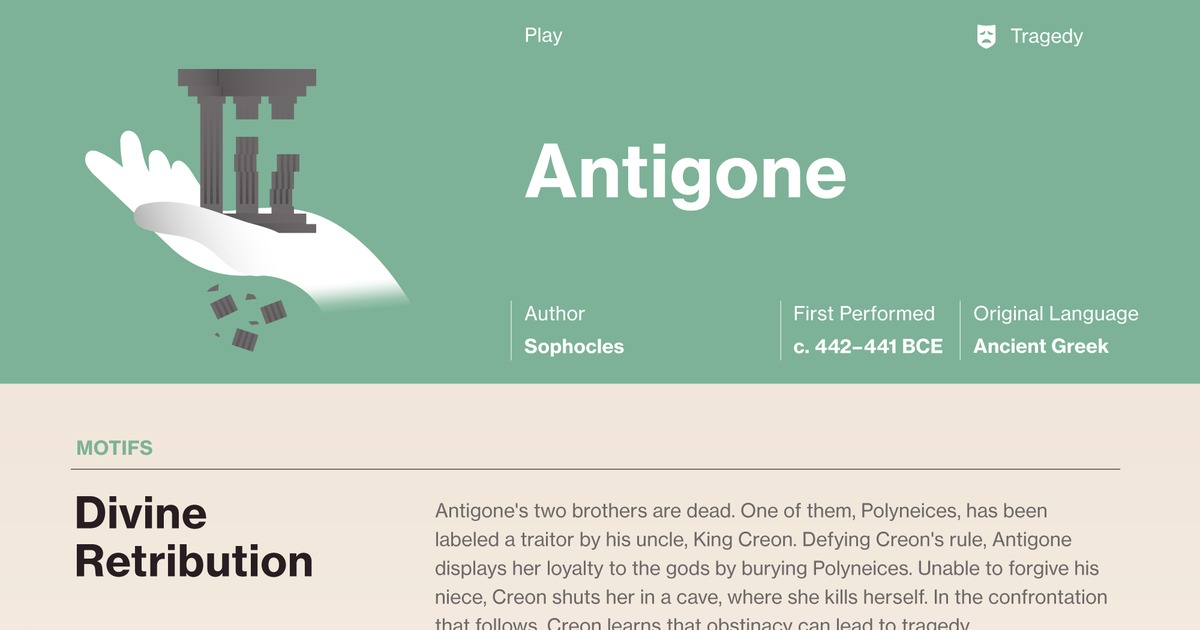 an analysis of creon as the tragic hero in antigone a play by sophocles Essays on antigone tragic hero to decide between antigone and creon as the hero of the play as one of sophocles's tragic hero though she was a.