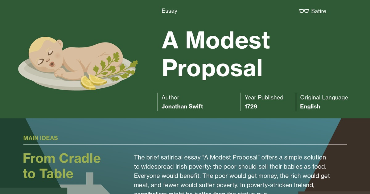 a modest proposal summary Test your knowledge of jonathan swift's satirical essay, ''a modest proposal'' with an interactive quiz try answering the practice questions to.