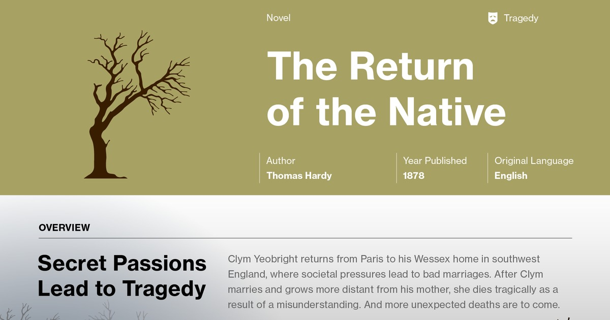 critical essays on the return of the native The return of the native is thomas hardy's sixth published novel it first appeared in the magazine belgravia, a publication known for its sensationalism, and was presented in twelve monthly installments from january to december 1878.