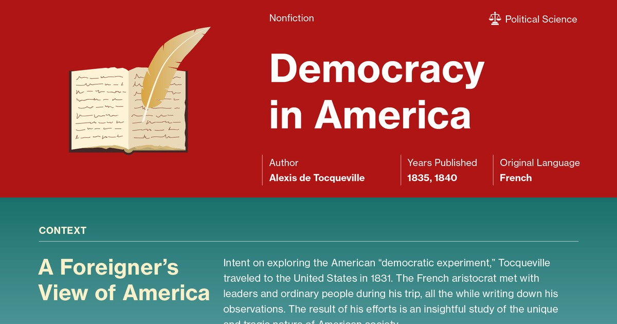 a critical analysis on de tocquevilles democracy in america Amazoncom: a macat analysis of alexis de tocqueville's democracy in america (audible audio edition): elizabeth morrow, macatcom, macat international limited: books interesting finds updated daily.