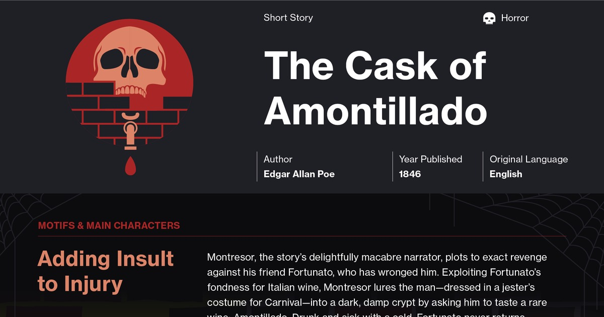 an examination of the narrator montresor in the short story the cask of amontillado by edgar allan p