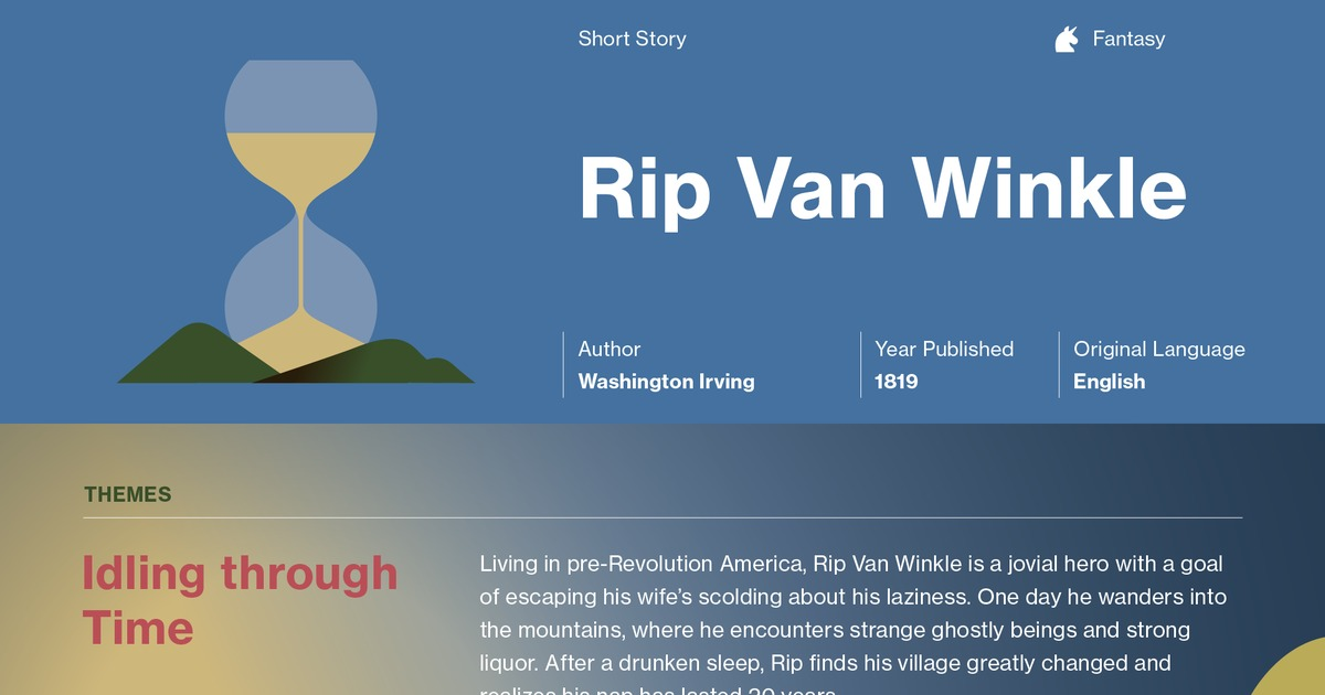 rip van winkle essay help Custom rip van winkle essay rip van winkle is one of the most popular americas short story, derived from german folk stories it's a very captivating story that has been very competitive internationally.