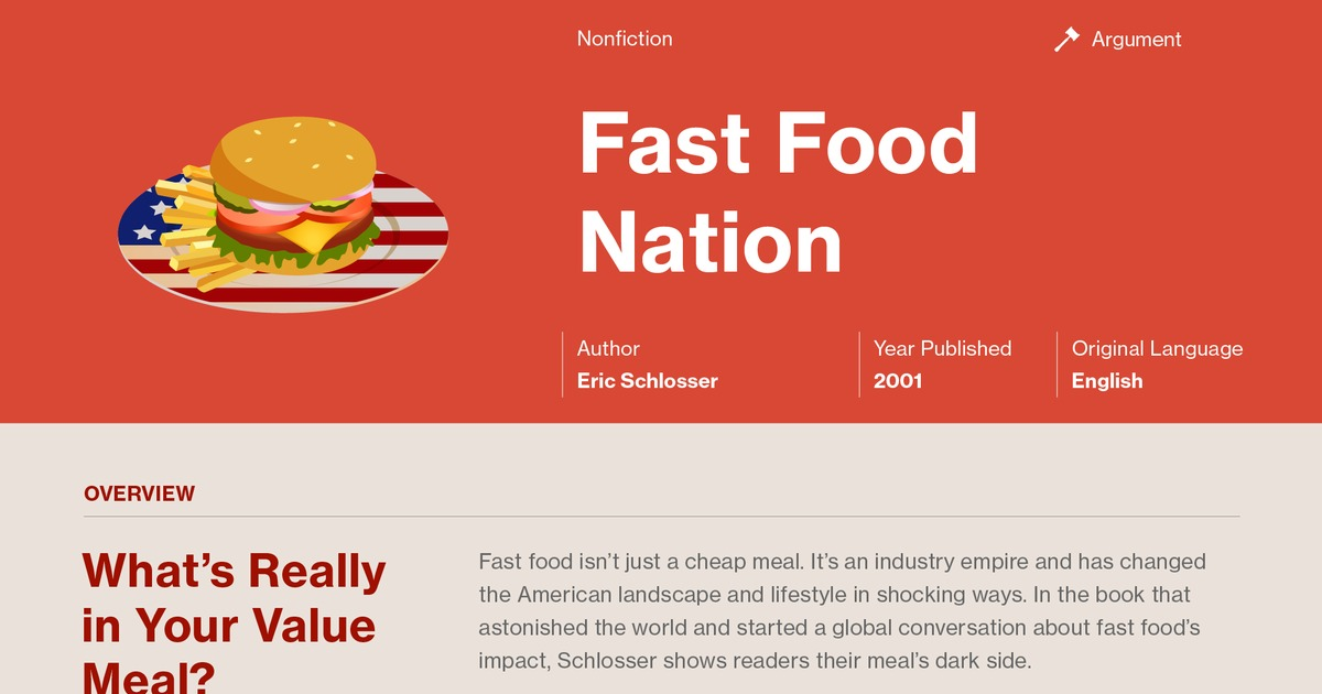 analysis of eric schlossers fast food nation Wrac online essays example analysis essay english 1a analysis  assignment: choose one of the first four chapters of eric schlosser's fast food nation to focus on in a detailed, 3-5 page argument analysis.