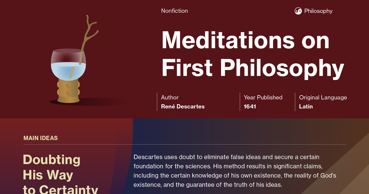 an analysis of the meditations of rene descartes Rene descartes was a french philosopher famous for the trademark argument and a version of the ontological argument what were the main themes in the book: descartes 'meditations on first philosophy.