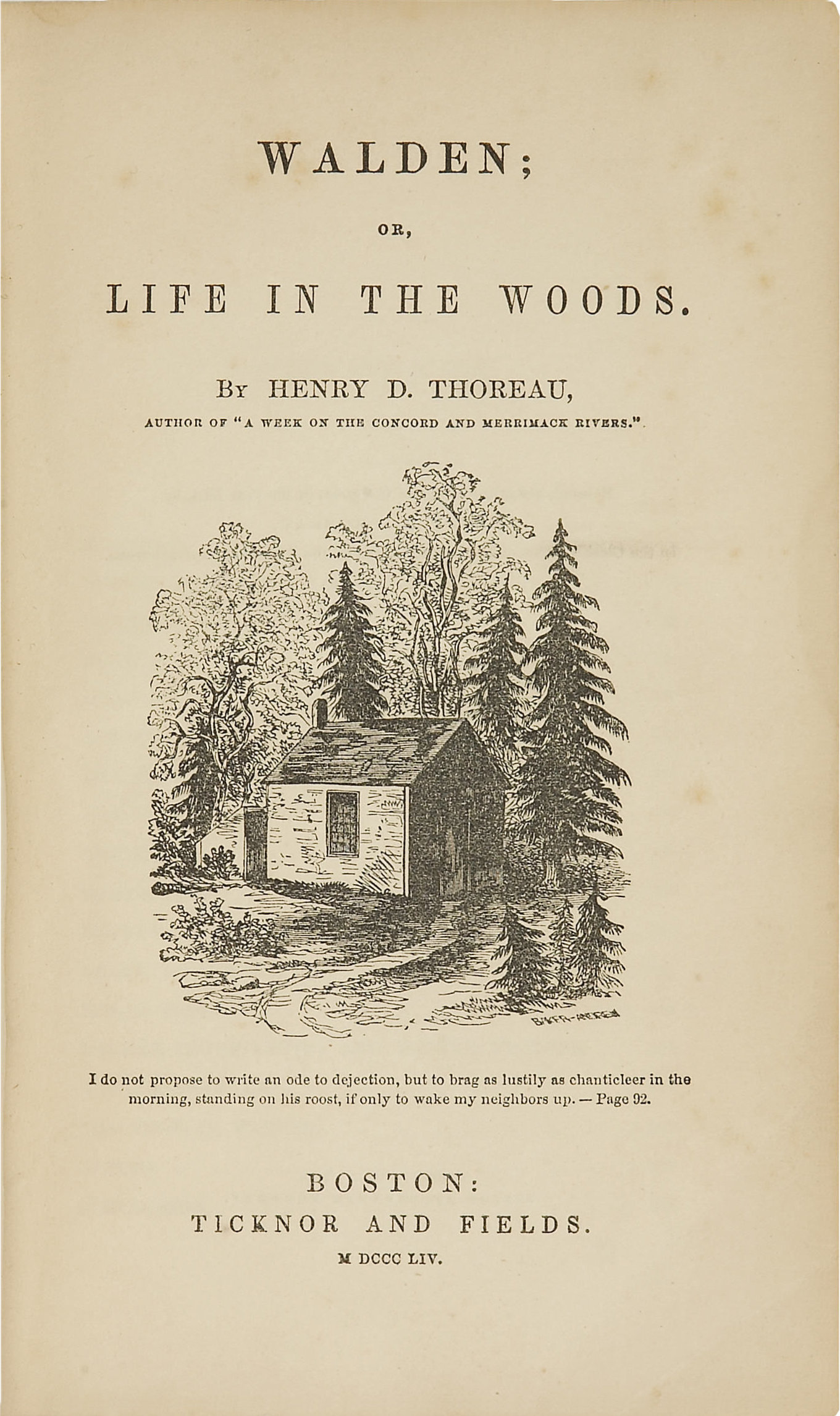 Title page from first edition of Henry David Thoreau's Walden (1854)