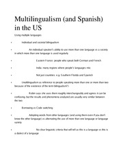 Ling 370 Ch 15 Multilangualism Outline