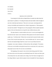 Invisible Man Test Essay