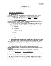 Contract Law Unit III, QUESTION OUTLINE by Jacob Sulzman